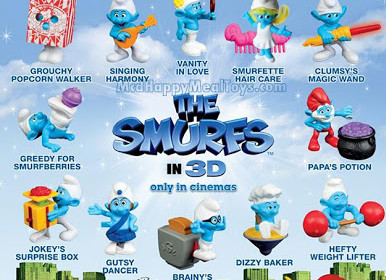 "McD Happy Meal ""The Smurfs"" toys"